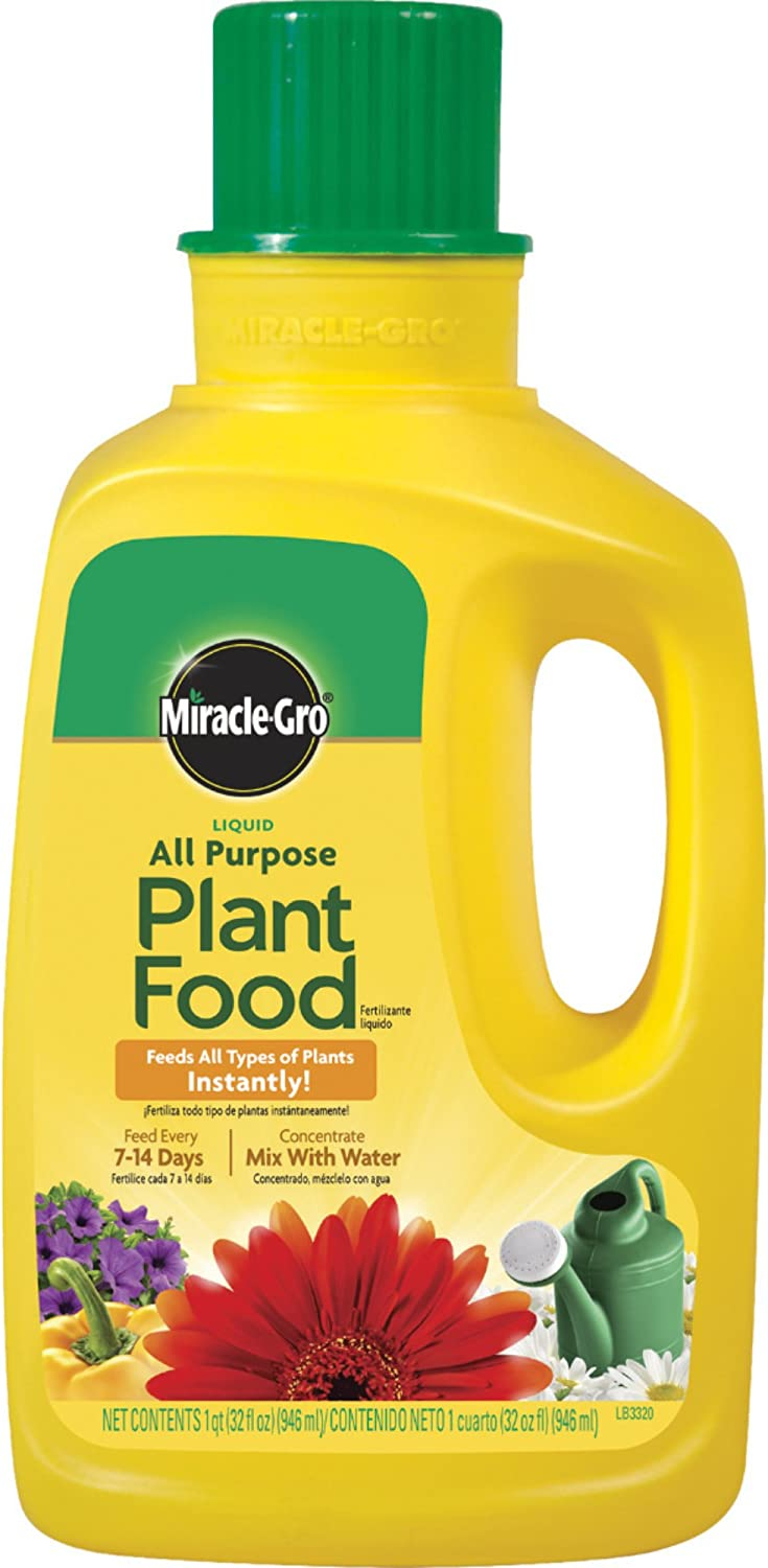 Miracle-Gro 1001502 Liquid All Purpose Plant Food Concentrate, 12-4-8, 32-Ounce Bottle