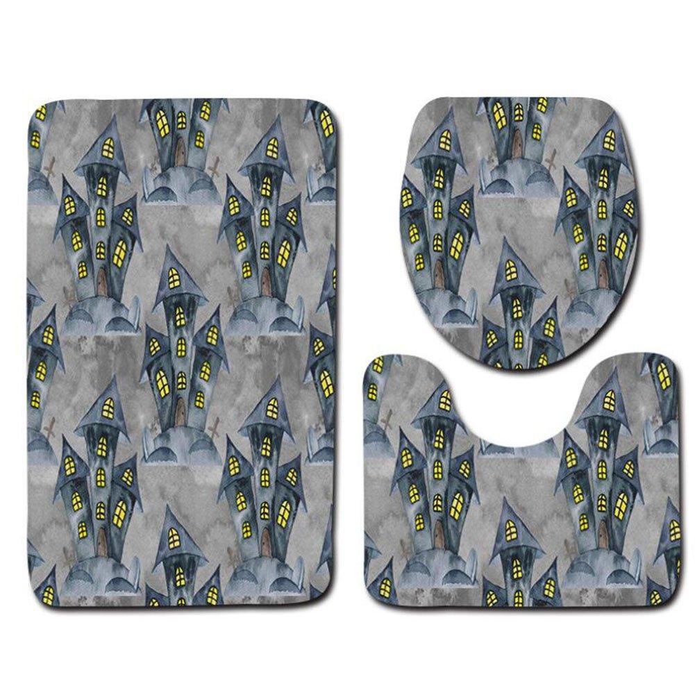 Designer Washable Soft Bath Rug Set Bathroom Mat Contour And Lid Toilet Cover Halloween Toilet 3 Sets Of Floor Mat Bathroom 3 Sets ( Color : A )