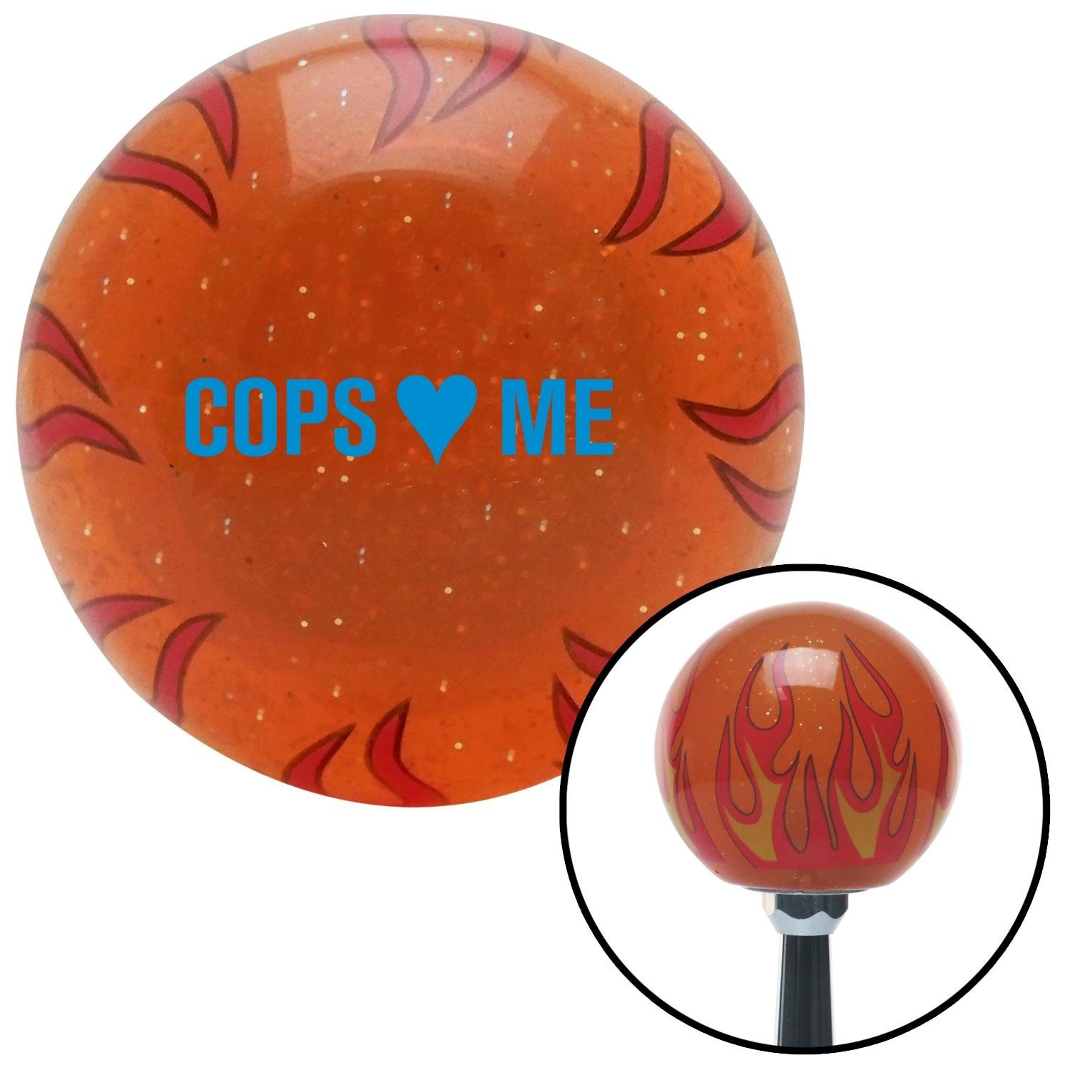 American Shifter 256474 Orange Flame Metal Flake Shift Knob with M16 x 1.5 Insert Blue Cops 3 Me