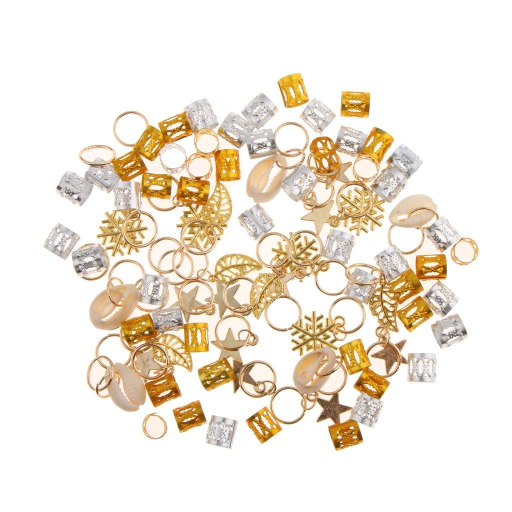 MonkeyJack 84pcs Dreadlock Shell Hair Ring Braid Rings Hair Pins Loops Hair Accessory Silver Gold