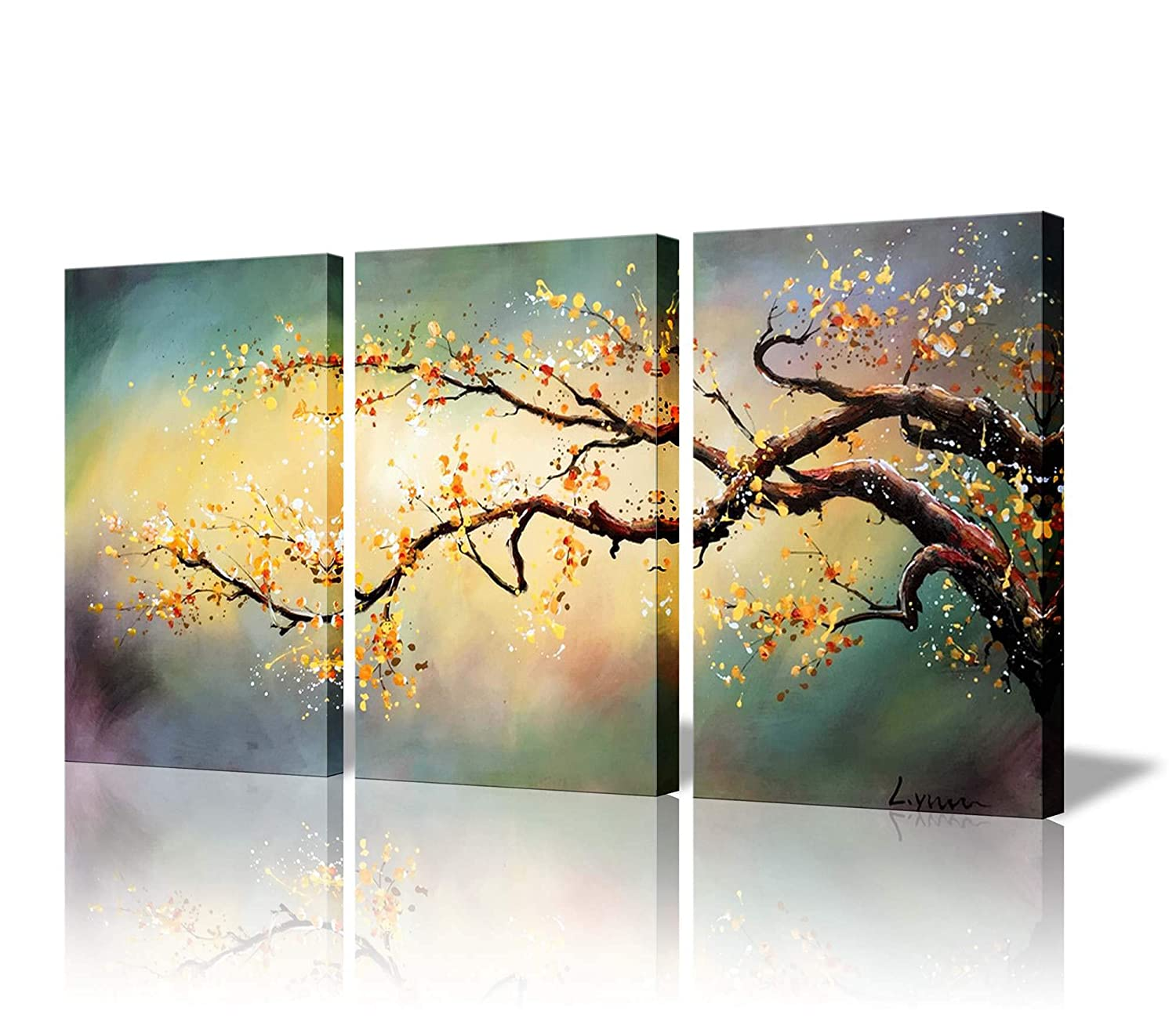 Amazon.com: ARTLAND Modern Flower Painting on Canvas Yellow Plum ...