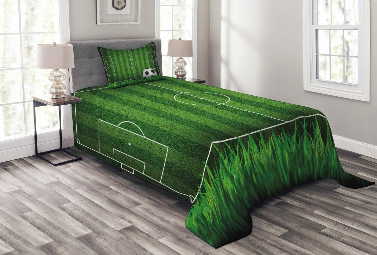 Lunarable Sports Bedspread, Green Grass Field Soccer Playground with The Ball Scheme Stripes Strategy, Decorative Quilted 2 Piece Coverlet Set with Pillow Sham, Twin Size, White Black