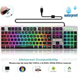 Backlit LED Wired Gaming Keyboard / Mechanical Feeling Keyboard with Water-Resistant Adjustable Backlight USB Wired Illuminated Computer Keyboard for PC Games Office (K2 Black)