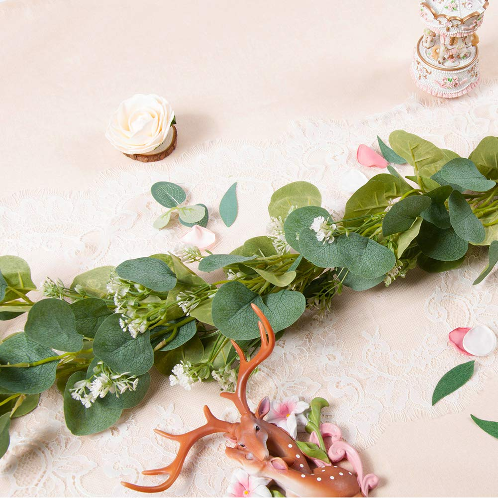 Meiliy 2pcs Artificial Greenery Eucalyptus Garland Faux Eucalyptus Silver Dollar Leaves Vines for Home Table Runner Wedding Decor