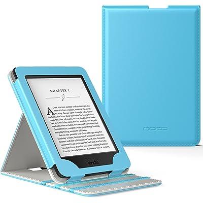 MoKo Kindle Paperwhite Funda - Premium Vertical Flip Smart Cover Case con Auto-Sueño / Estela para Amazon All-New Kindle Paperwhite (Compatible con 2012, 2013, 2015 y 2016), No es compatible para All-new Paperwhite 10th generation 2018 Azul Claro