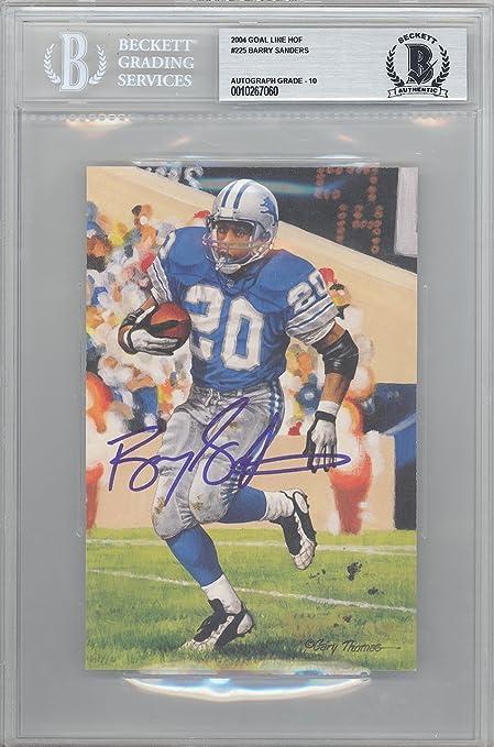 e52d4b635 Barry Sanders Autographed 2004 Goal Line Art Postcard  225 Detroit Lions  Gem Mint 10 Beckett