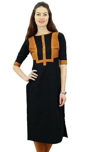 India algodón Kurti ropa de sport étnico tapa de la túnica kurta recta de Phagun Mujeres