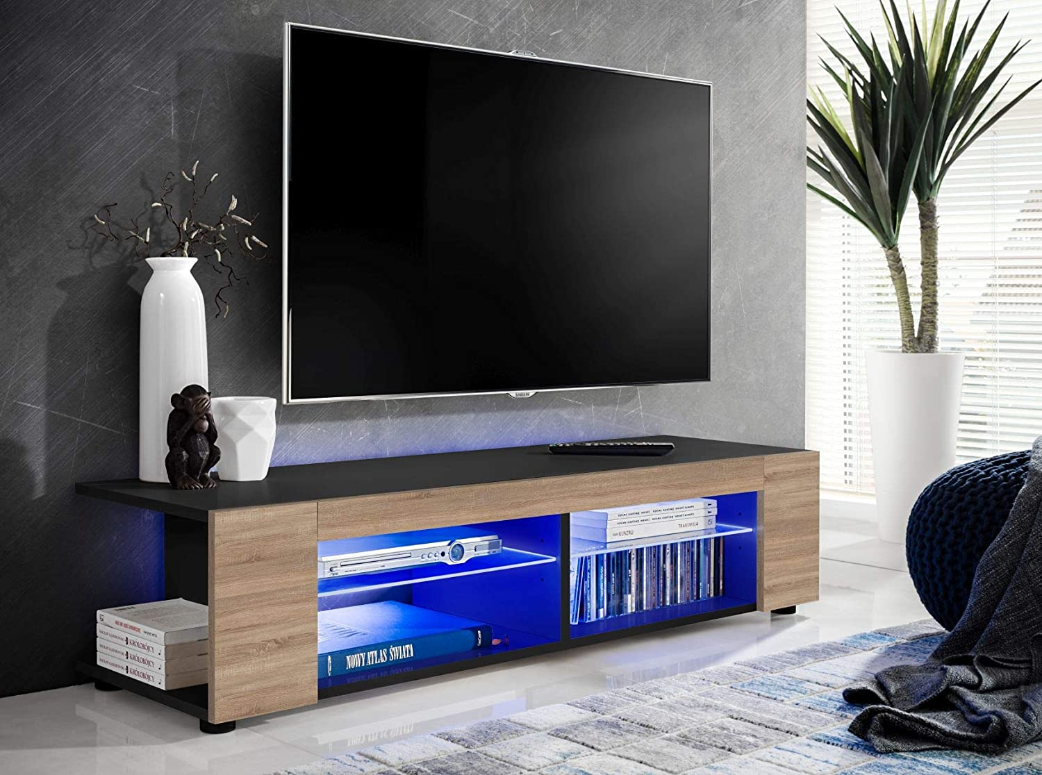 ExtremeFurniture T37 Meuble TV Carcasse en Noir Mat//Fa/çade en Blanc Brillant LED Bleues