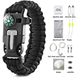 Save4you Paracord Bracelet Embedded Compass Fire Starter Emergency Knife Whistle W 16-Piece Survival Kit Includes Fishing Gear