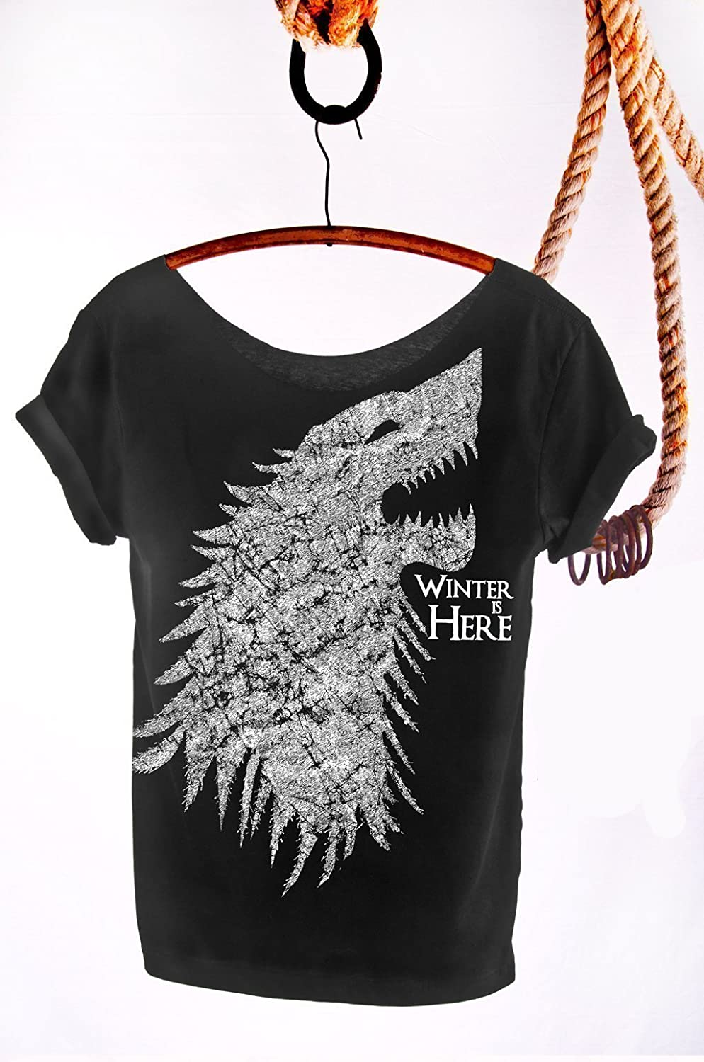 01e2286e5d45 Amazon.com: Winter is Here Game of Thrones T Shirt. Slouchy, Off The  Shoulder, Sexy Top! Tunic Length Tee Great for Leggings! Plus Sizes  Available!: