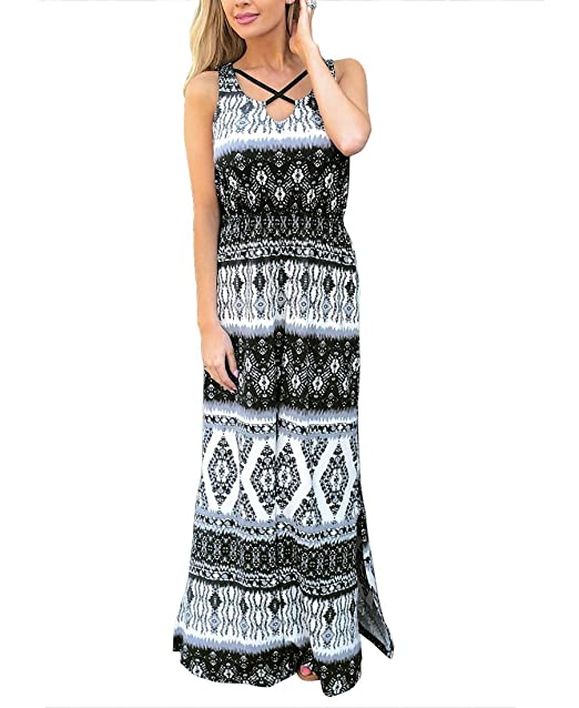 09bb35a3514 Image Unavailable. Image not available for. Color  MIROL Women s Sexy Sleeveless  Bohemia Printed V Neck Front Cross High Waist Side Split Beach Long