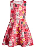 Funnycokid Girls Sleeveless Round Neck Floral Printed Holiday Dress Size 4-13