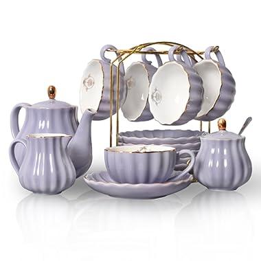 Porcelain Tea Sets British Royal Series, 8 OZ Cups& Saucer Service for 6, with Teapot Sugar Bowl Cream Pitcher Teaspoons and tea strainer for Tea/Coffee, Pukka Home (Milk Purple)