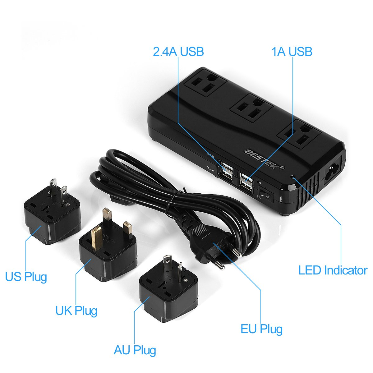 BESTEK Universal Travel Adapter 220V to 110V Voltage Converter