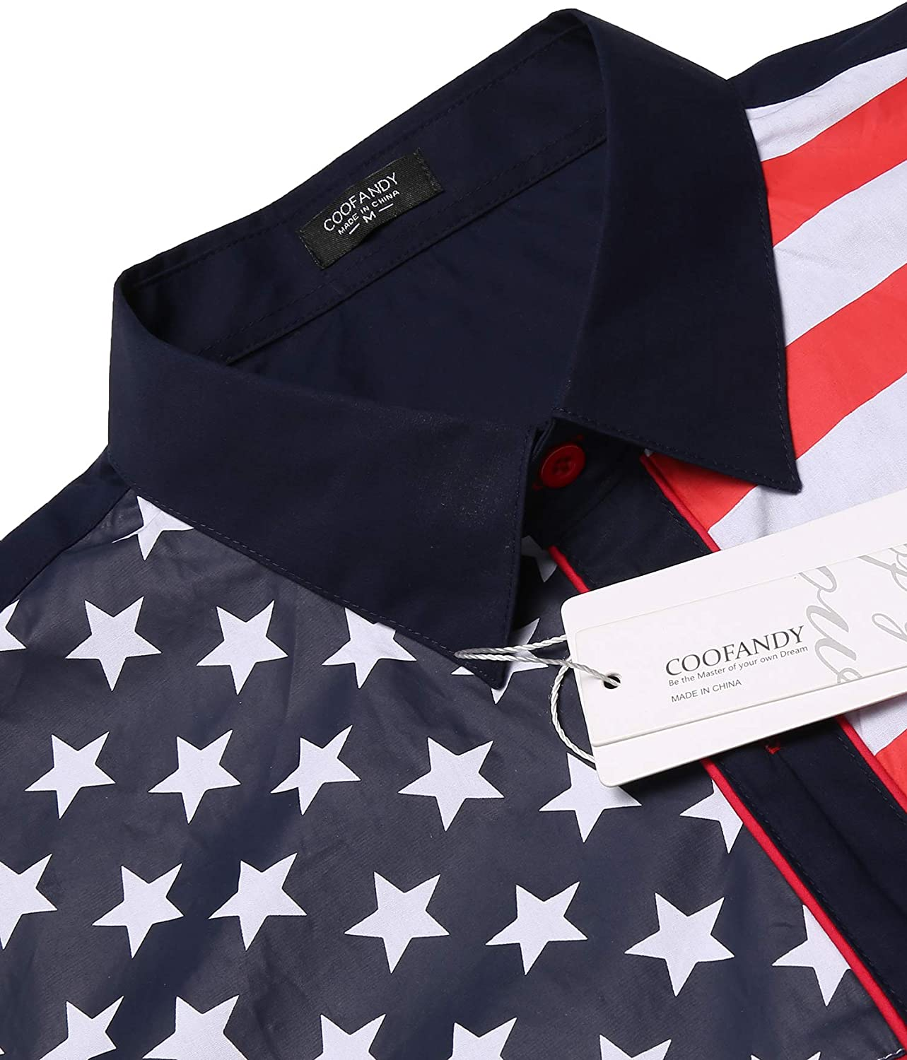 COOFANDY Mens Casual American Flag Button Down Shirts Slim Fit Long Sleeve Shirt