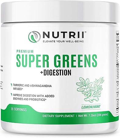 Nutrii Organic Green Immunity Superfood with Turmeric, Probiotics, Digestive Enzymes and Ashwagandha (20 Servings, Lemon-Mint Flavor)