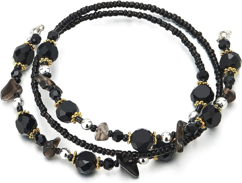 COOLSTEELANDBEYOND Apilable Cuentas Alambre Pulsera con Plata Metal Perlas Negro Piedras Beads Oro Flor Colgantes
