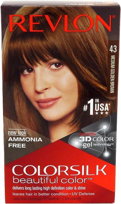 Revlon ColorSilk Colore dei capelli [43] Medium Golden Brown 1 bis (Confezione da 2)