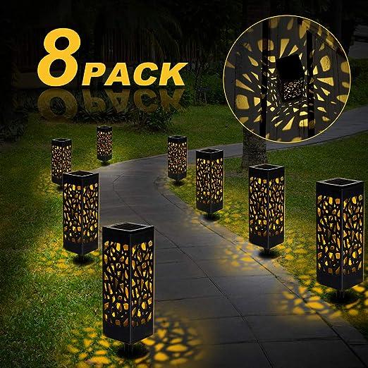 Nasharia - Lámpara solar para jardín, 8 luces LED, resistente al agua, IP44, efecto de luz LED, para terraza, césped, jardín, patio, caminos, luz blanca cálida: Amazon.es: Iluminación