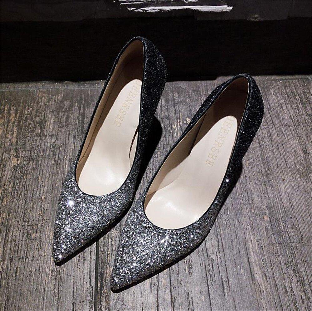Xue Qiqi Court Court Court Schuhe Stöckelschuhe mit Hohen Absätzen Frauen Gut mit Einem Einzigen Schuh Weiblichen Flachen Mund Hochhackigen Silber Spitz Schuhe, 32 210, Silber Schwarz Gradient 8CM - 4d9b8c