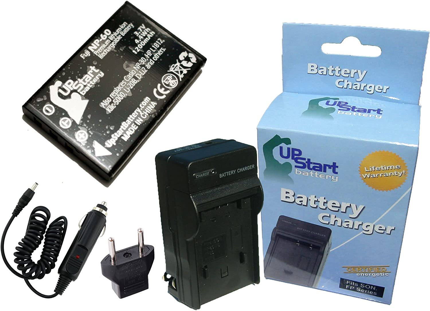 Replacement for HP Photosmart R967 Battery and Charger with Car Plug and EU Adapter - Compatible with HP L1812A Digital Camera Batteries and Chargers (1200mAh 3.7V Lithium-Ion)