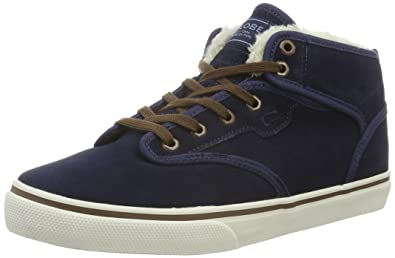 Globe Skateboard Shoes Motley Mid Navy/Brown/Fur Size 5.5