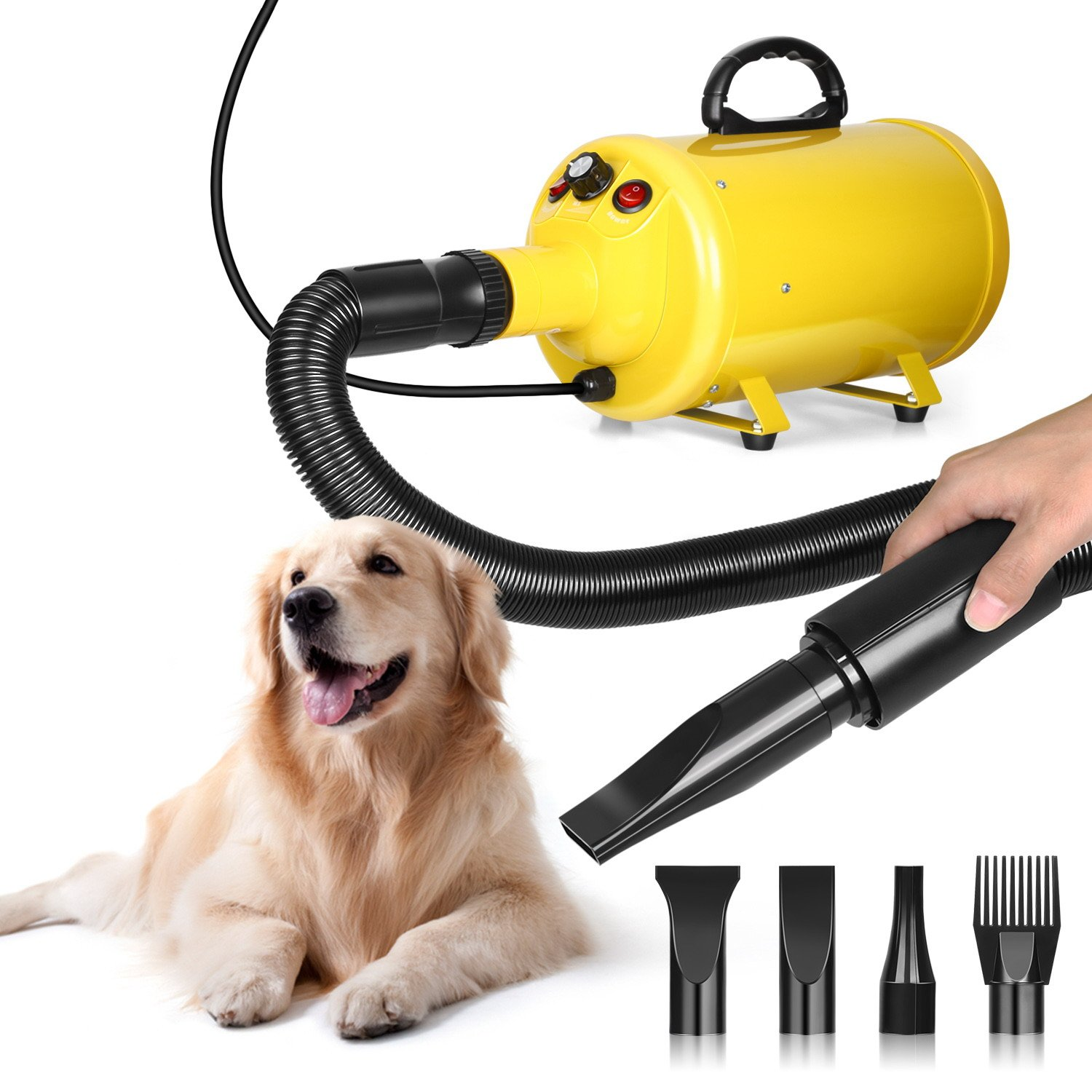 amzdeal Dog Dryer 2800W 3.8HP Pet Blow Dryer Grooming Hair Blower Speed Adjustable with Heater for Dogs Cats 4 Different Nozzles
