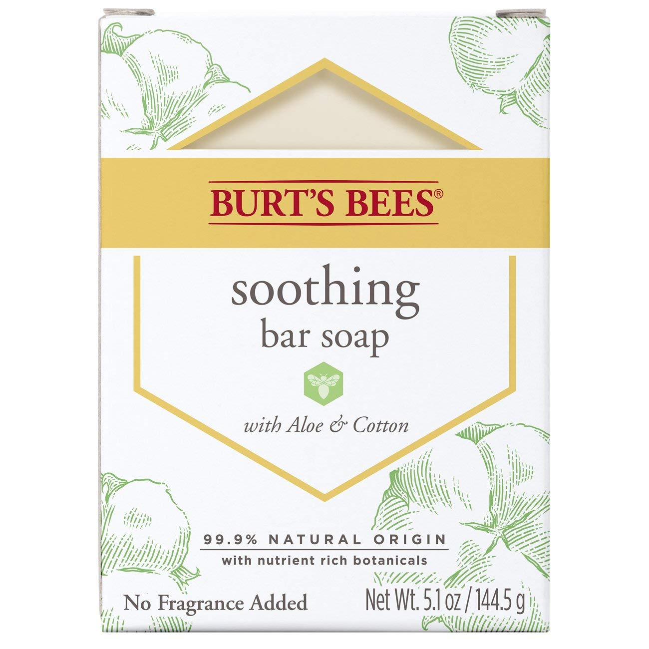 Burt's Bees Bar Soap, Soothing with Aloe & Cotton, 5.1 Ounce