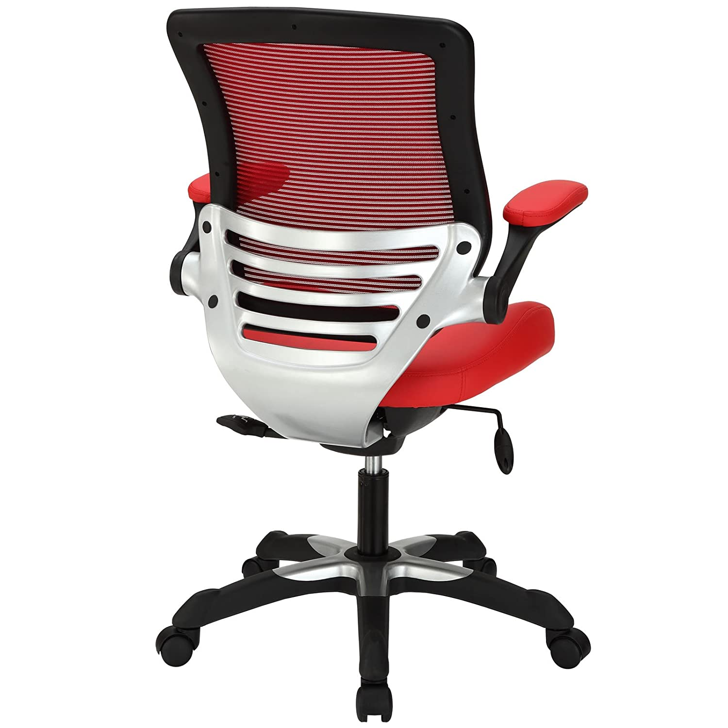 edge office chair with mesh back and black leatherette seat. amazon.com: modway edge mesh back and red vinyl seat office chair with flip-up arms - ergonomic desk computer chair: kitchen \u0026 dining black leatherette