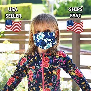 product image for CHILD SIZE FACE MASK-Blue Hawaiian MADE IN THE USA, Double Layered Cotton and Polyester Fabric Face Mask, Hawaiian Print Face Mask, Washable and Reusable Face Mask, One Size Fits Most Kids