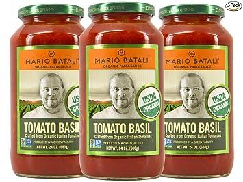 Mario Batali Organic Tomato Basil Sauce 24 oz (3 Pack)