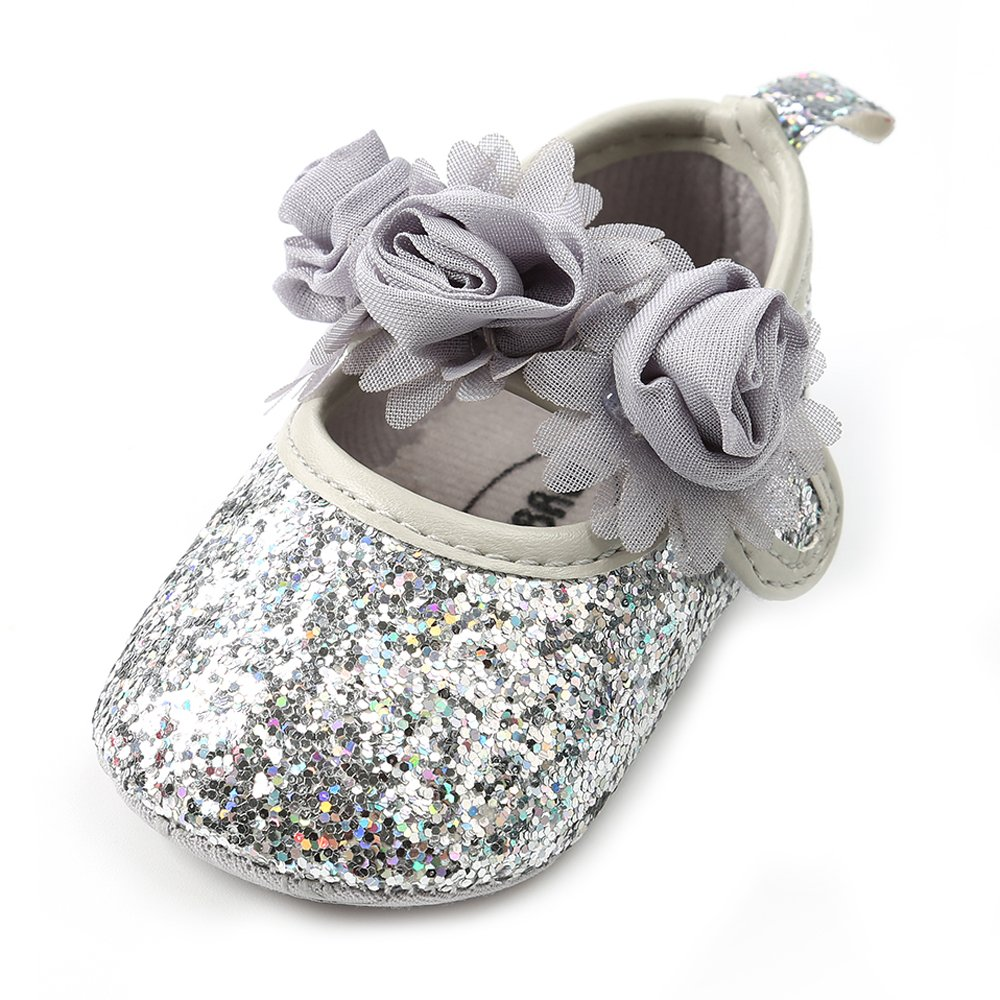 Antheron Baby Girls Mary Jane Flats Soft Sole Infant Moccasins Floral Sparkly Toddler Princess Dress Shoes(Silver,6-12 Month)