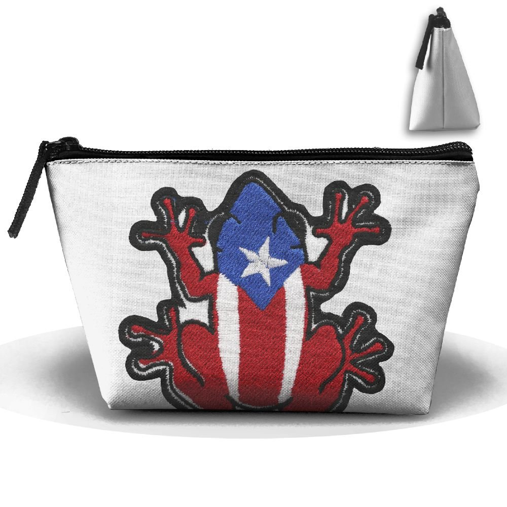 fb6be7ffda42 Amazon.com: Puerto Rico Flag Frog Makeup Bag Large Trapezoidal ...