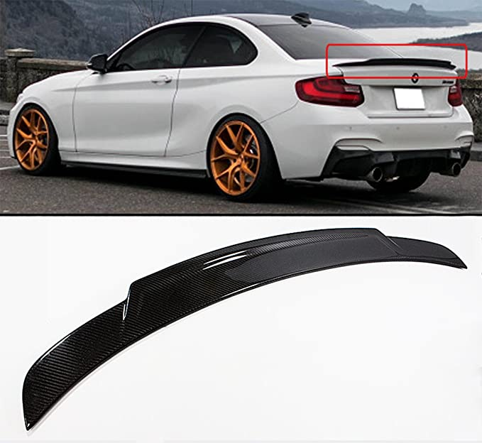 Carbon Fit For BMW 2-Series F22 F23 F87 Coupe V Type Trunk Spoiler 228i 14-21