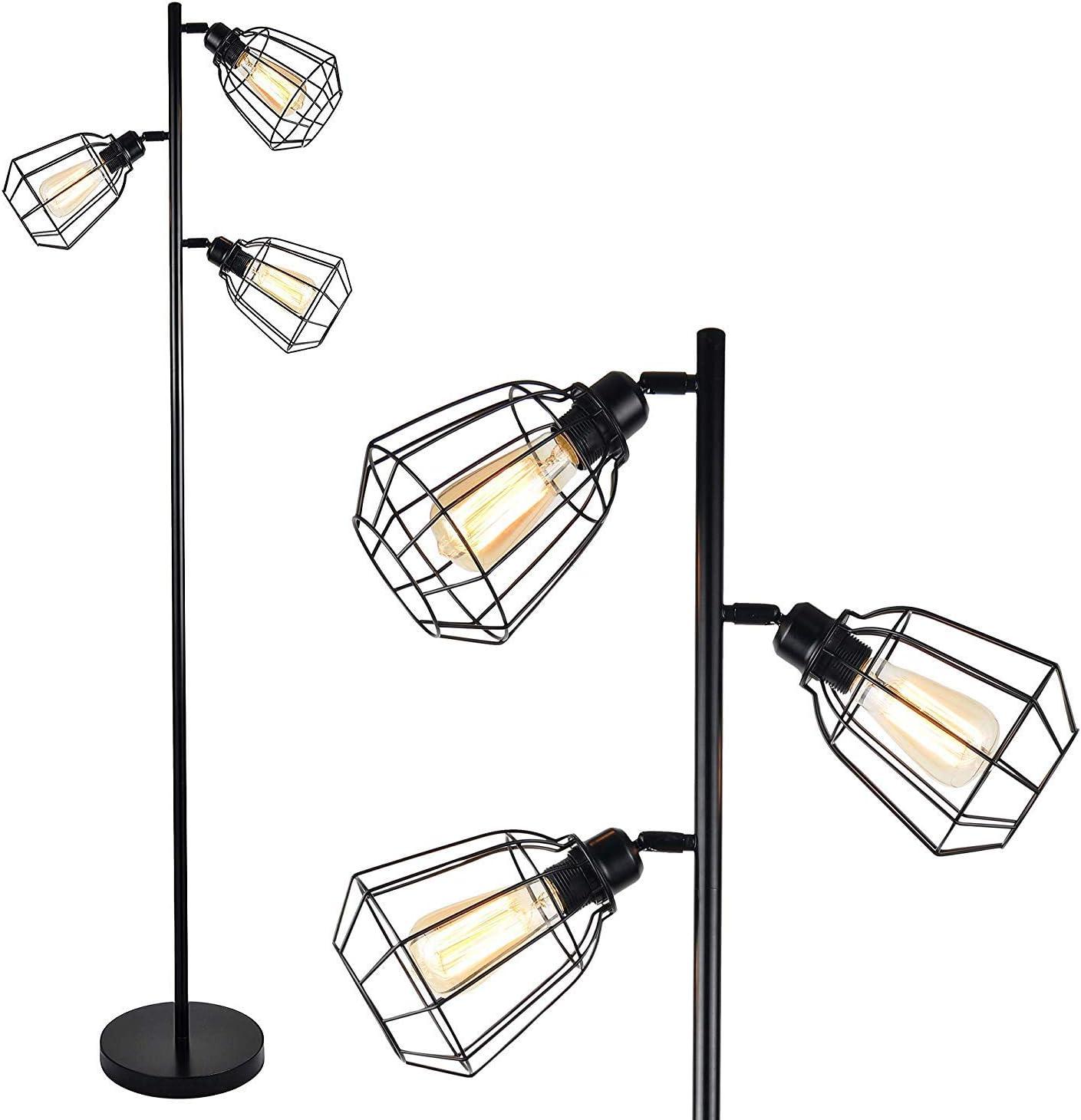 Amazon Com Leonlite 65inch Track Tree Floor Lamp 3 Bulbs Included Industrial Floor Lamps Rustic 3 Head Torchiere Lamp Fixture Home Improvement