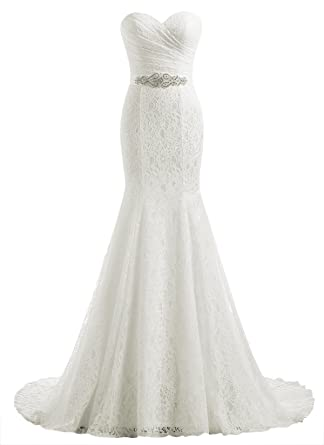 Beautyprom Womens Lace Mermaid Bridal Wedding Dresses Ivory US2