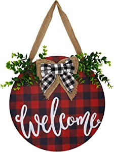 Joyseller 3D Welcome Wooden Door Wreath | Buffalo Plaid Front Door Hanger | Rustic Welcome Sign for Farmhouse Decor, Wall Decor
