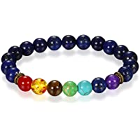 Young & Forever mothers day gift for mom 7 Chakra Lava Stone Diffuser Bracelet Crystal Reiki Healing Balancing Natural Gemstone Round Beads bracelet for men women stylish