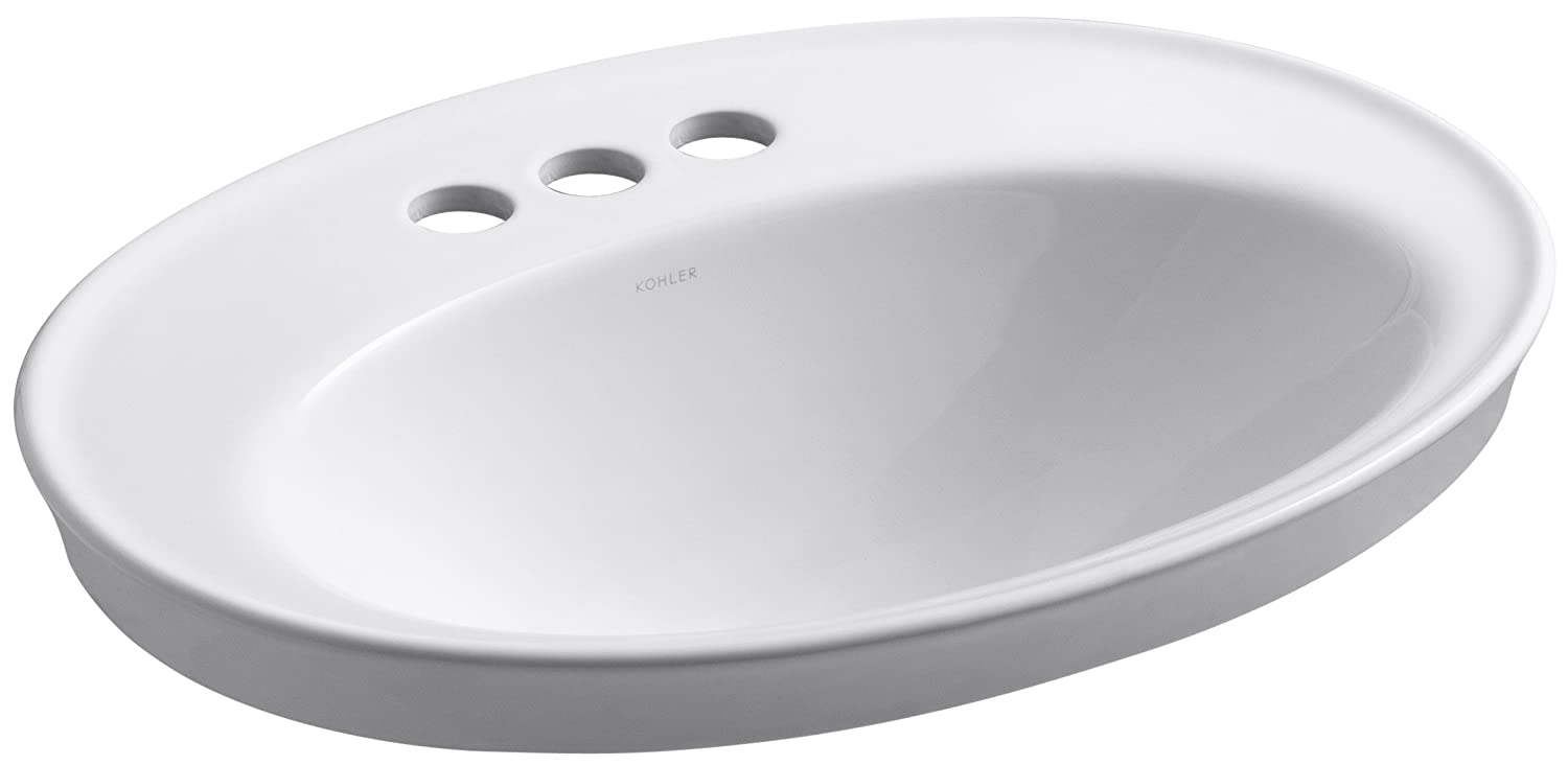 Kohler 2075-4-0 Vitreous china Drop-In Oval Bathroom Sink, 23.5 x 15 x 21.68 inches, White