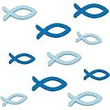 Oblique unique® Table poissons en bois de litière articles de distribution Baptême Bleu–Streudeko ornement pour baptême, communion et confirmation–Bois véritable