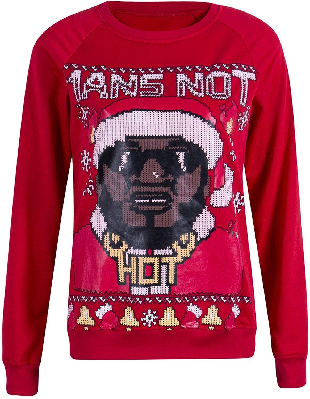 TUSFTAY Long Sleeve Crewneck Christmas Printed Sweatshirts Pullover Sweater