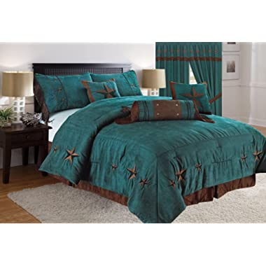 Linen Mart Rustic Turquoise Embroidery Star Western Luxury Comforter - 7 Pc Set (Oversized King)