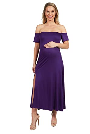 3cdfb07d9a7 24seven Comfort Apparel Maternity Clothes for Women Off The Shoulder Short  Sleeve Midi Dress - Made in USA - (Sizes S-3XL) at Amazon Women s Clothing  store