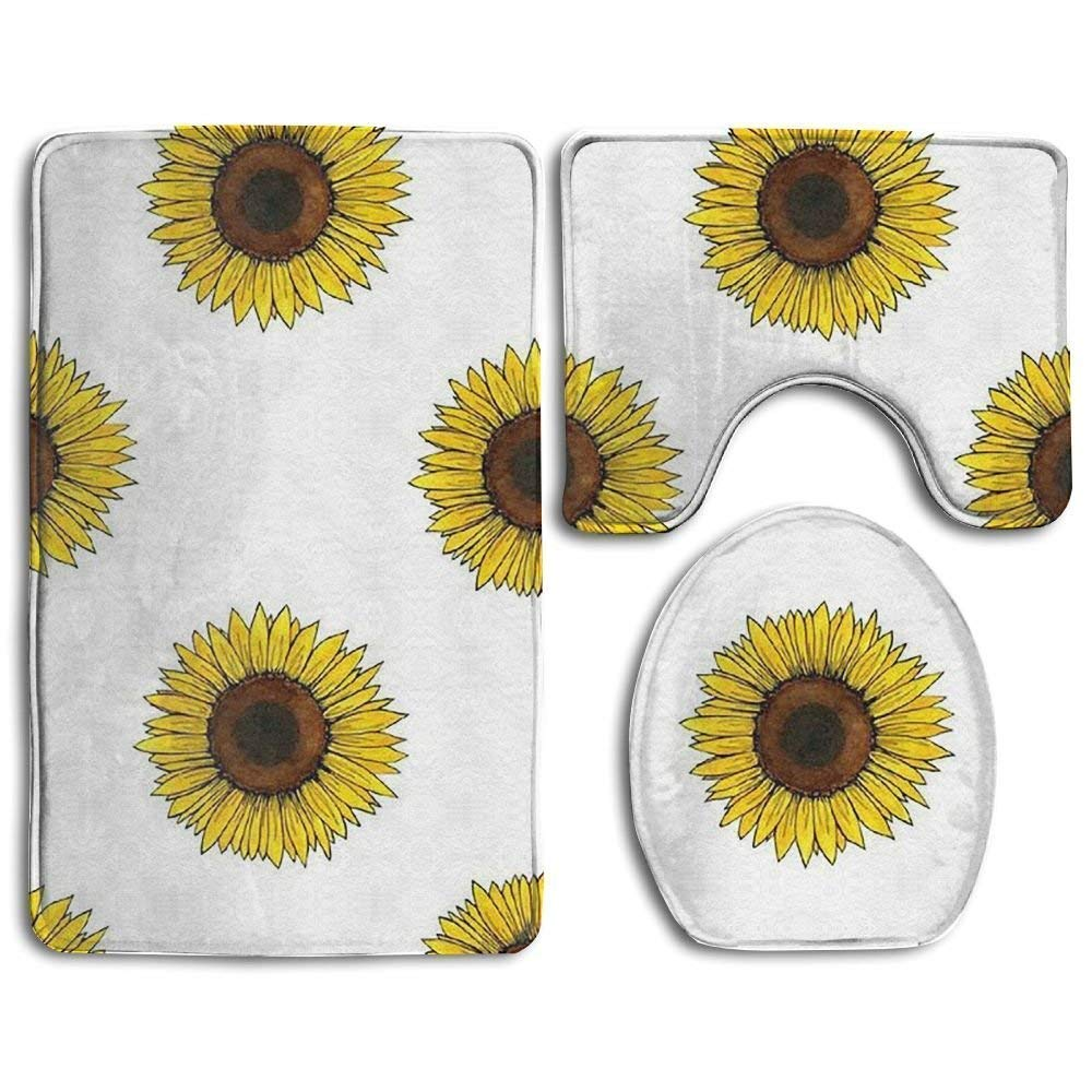 guolinadeou Sunflower Repeat Bathroom Rug Mats Set 3 Piece Flannel Extra Soft Shower Bath Rugs Contour Mat Lid Cover