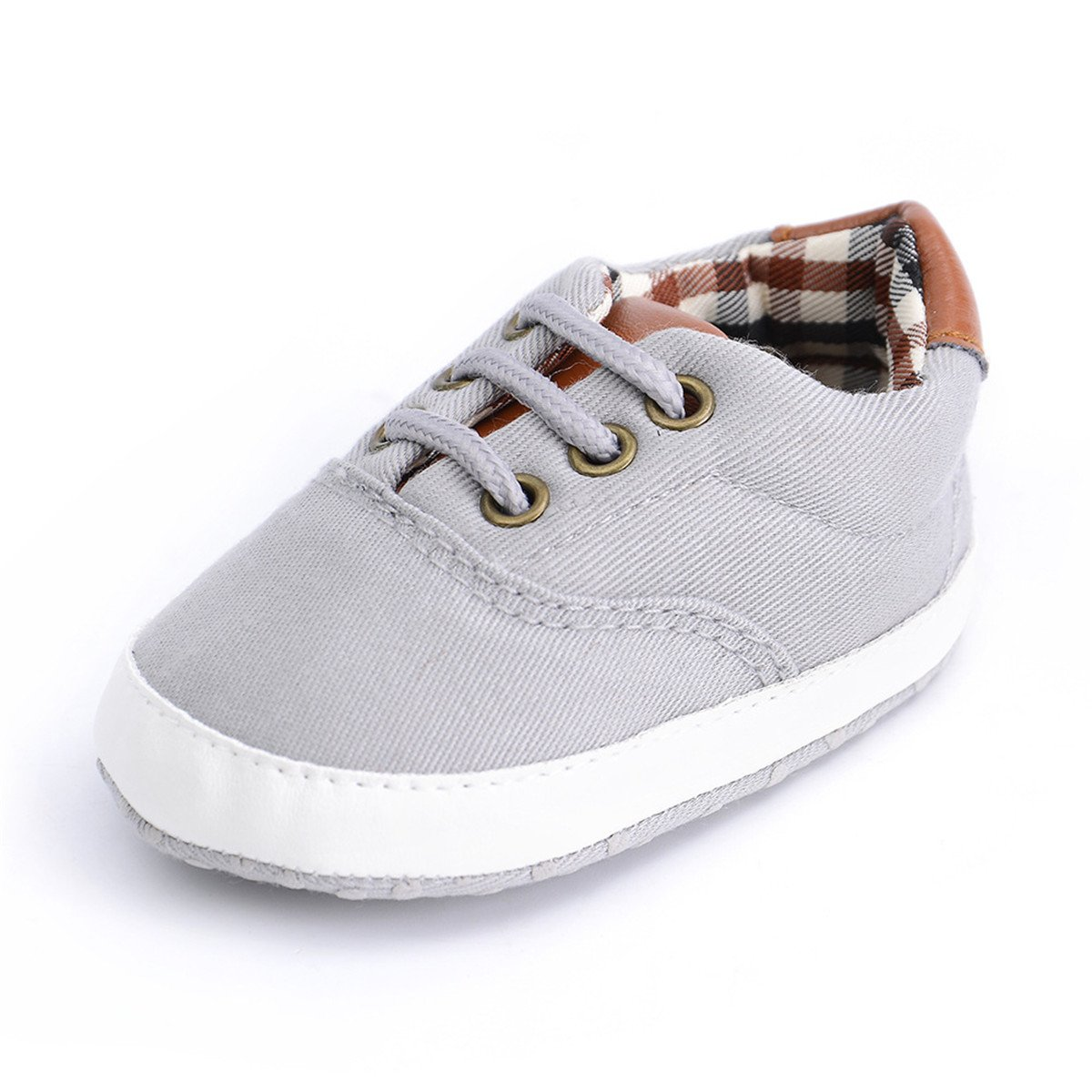 BENHERO Baby Boys Girls Canvas Toddler Sneaker Anti-Slip First Walkers Candy Shoes 0-24 Months 12 Colors (13cm(12-18months), B-Light Grey)