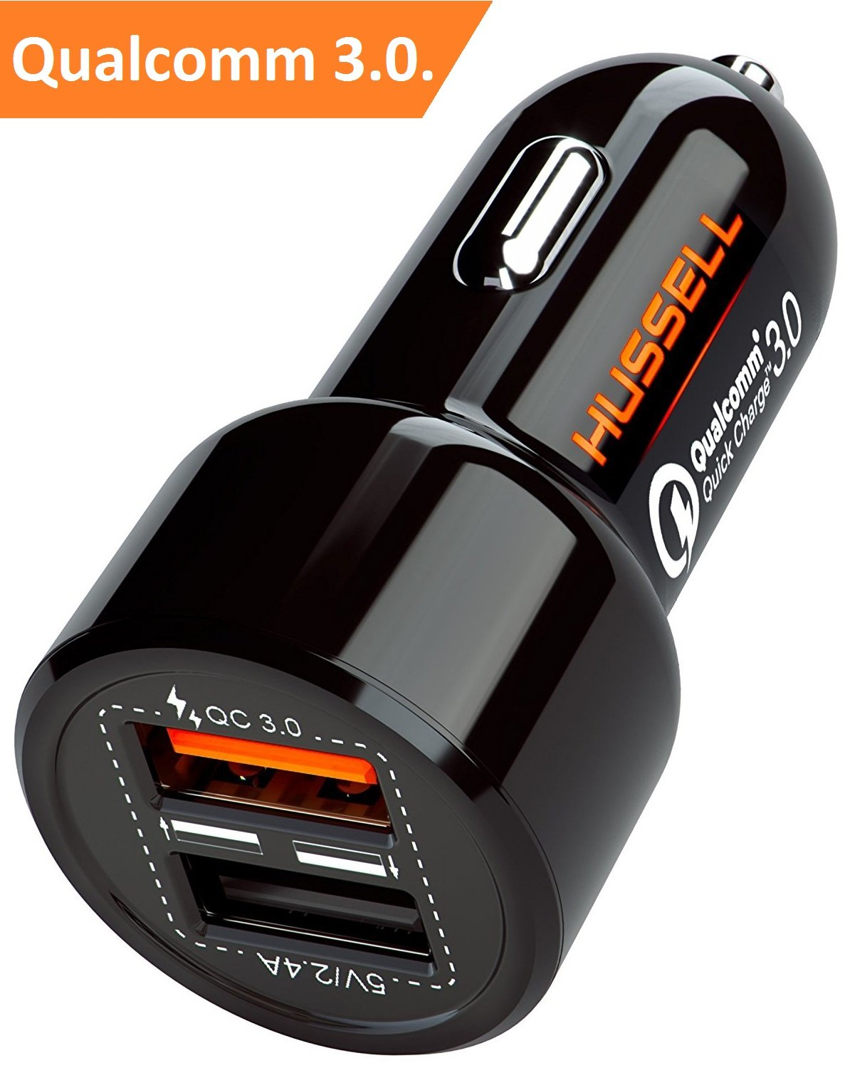 2018 HUSSELL Car Charger. Quick Charge 3.0 + 2.4A Smart IC Dual USB Car Charger Adapter for any iOS or Android Devices: Samsung and More. Car Adapter. Car Charger Adapter. Car Charger USB
