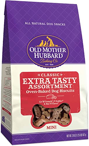 Old Mother Hubbard Classic Extra Tasty Assortment Biscuits Baked Dog Treats, Mini, 20 Ounce Bag