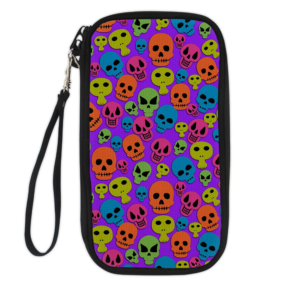 Horeset Passport Wallet Skull Print Multiple Family Passport Holder Travel Document Organizer for Men Women Multicoloured 1