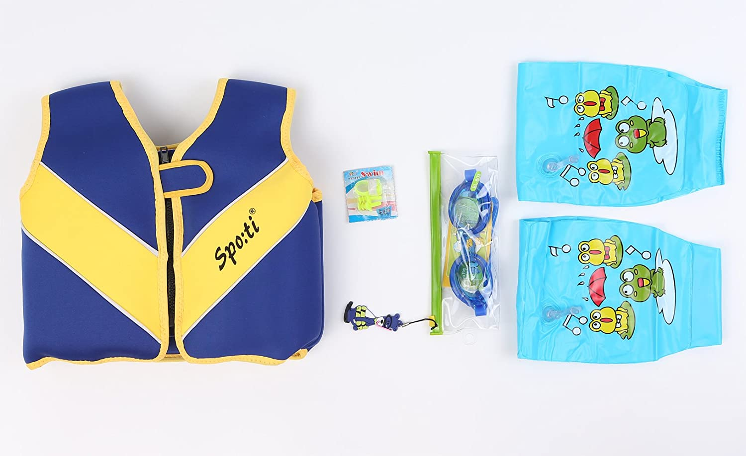 Titop Infant Baby Life Jacket Children Life Vest for for 22-33 Lbs+Swimming Glasses /& Swimming Floatation Sleeves /& Swimming Nose Protector/& Belt-line Ear Plugs Navy Blue Small