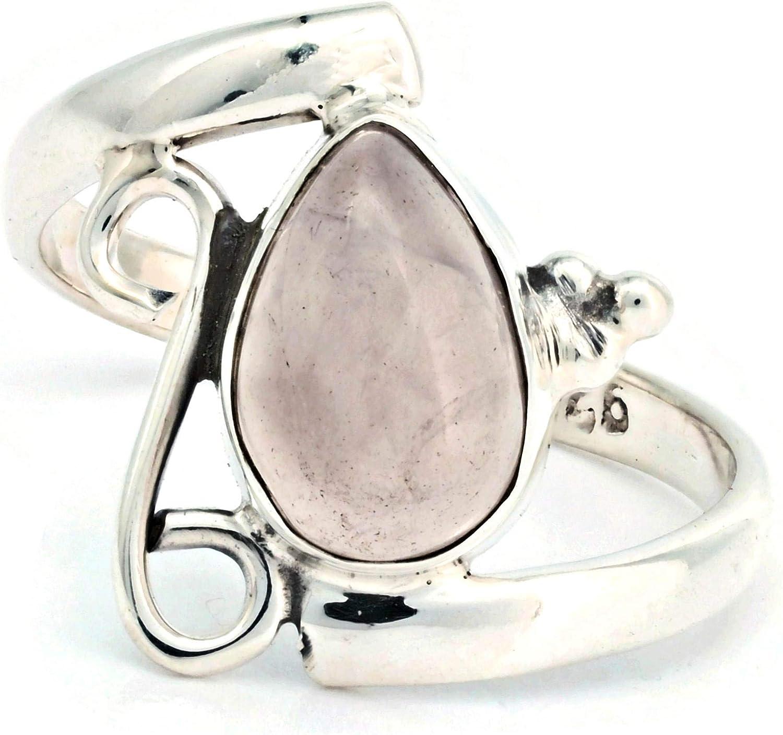 Anillo de plata de ley 925 cuarzo rosa (No: MRI 195)